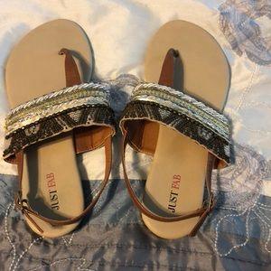 Brown beaded sandals